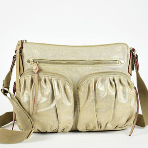Mz Wallace Paige Metallic Linen Shoulder Bag
